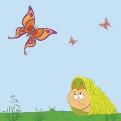 Snail and butterflies