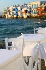 Small tavern in Small Venice of Mykonos island