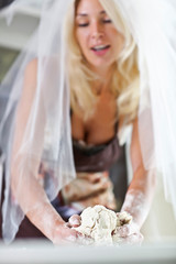 Young bride learns to cook