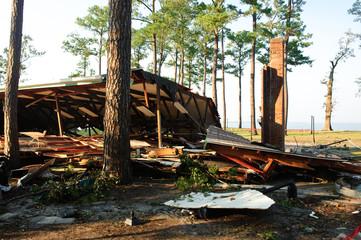 Building destroyed by storm