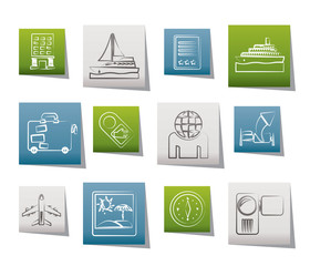 Travel, vacation and holidays icon - vector icon set