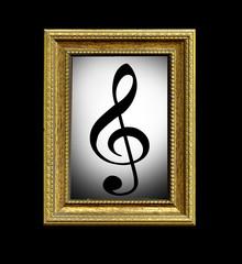Quadro con chiave di violino su fondo nero