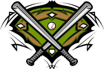 Baseball Field with Softball Crossed Bats Vector Image Template