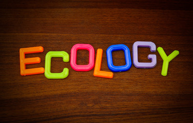 Ecology in colorful toy letters on wood background