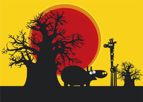 Silhouettes d'hippopotame et la girafe