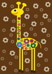 hippie giraffe with flowers