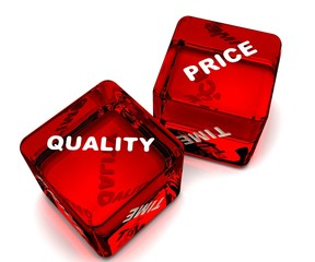 two dice designating  quality-price