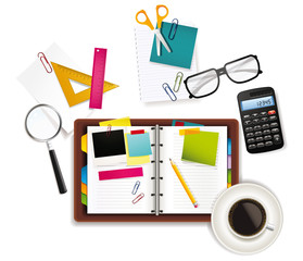 Office and business supplies background