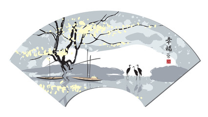 Chinese fan in the landscape, river and herons