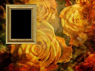 Cornice dorata su texture con fiori