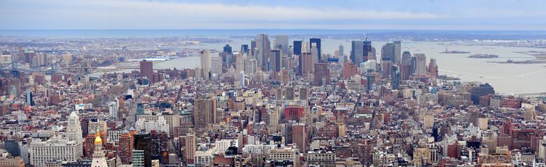 New York City Manhattan downtown skyscrapers panorama