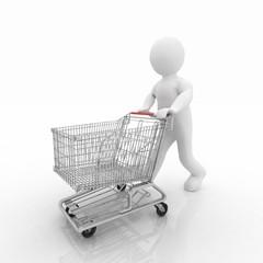 3d man rolls the shopping cart