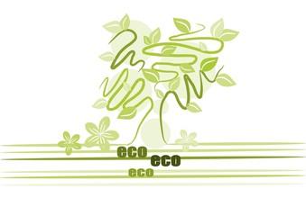 Green pattern tree. Ecology illustration - Vector
