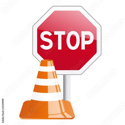 Panneau stop et c ne de chantier fichier vectoriel libre de droit - Prix d un panneau stop ...