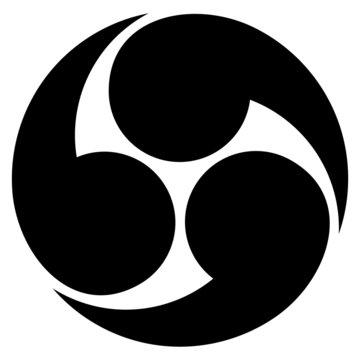 家紋/右三つ巴[Japanese family crest]