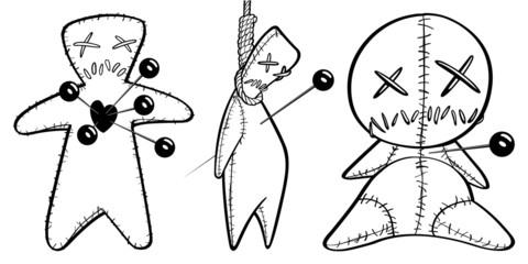 Black and White Voodoo Dolls