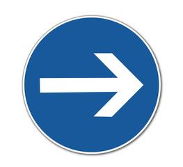 vorgeschriebene Fahrtrichtung - hier rechts
