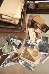 Old books,photos and postcards