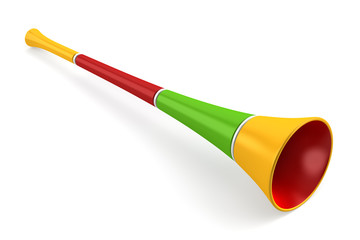 multicolored party horn isolated on white background