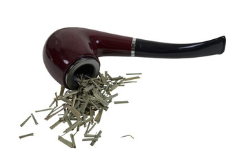 Smoking Pipe with Green Leafy Items