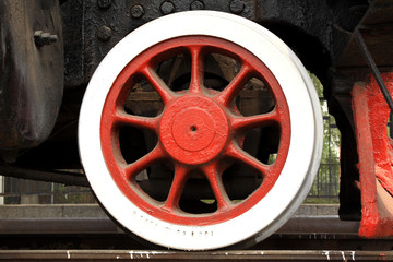 closeup of train wheels in china