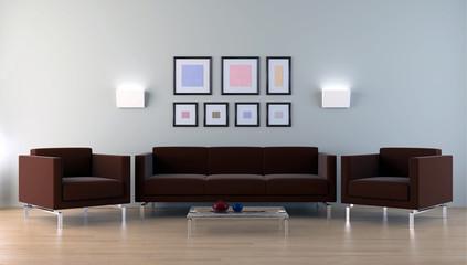 Interno con divani lampade e quadri 3d