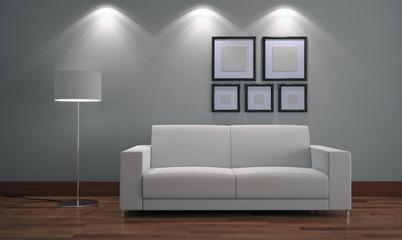 3d Divano in interno con quadri