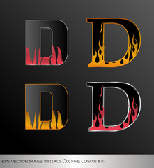 Fototapeta eps Vector image: initials (d)  metallic fire logo Ⅲ&Ⅳ obraz