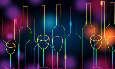 Elegant glowing bottles and glasses illustration