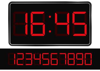 Vector red digital clock