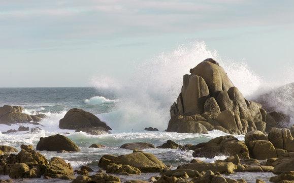 sea rock is breaking powerful wave