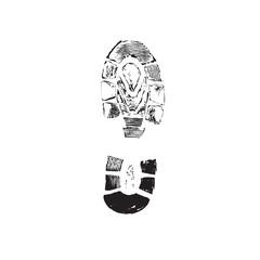 Print of a human boot.Vector illustration