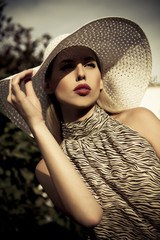 summer fashion girl with hat