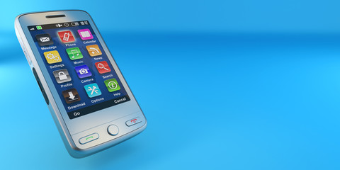 Metallic mobile phone on blue background