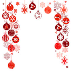 Blank Christmas frame with contour hanging balls