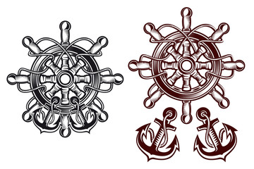 Ship steering wheel with anchors