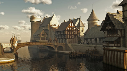 Fototapete - Medieval or Fantasy Docks