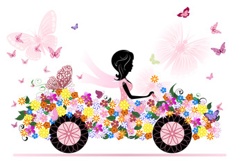 Foto op Plexiglas Bloemen vrouw girl on a romantic flower car