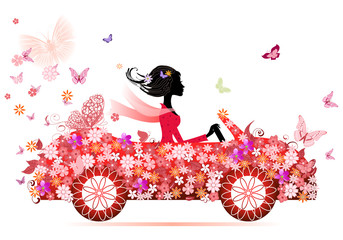 Door stickers Floral woman girl on a red flower car