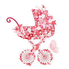 Printed roller blinds Floral woman Stroller of flowers for girls
