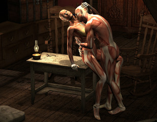 Mann und Frau in erotischer Pose