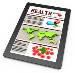 Pharmacy news on touchscreen or tablet pc