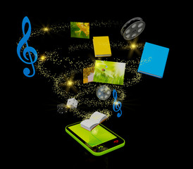 Mobile media concept over black