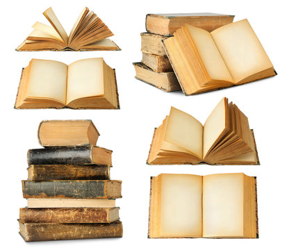 Isolated books. Collection of different old books, closed and open with empty pages, single and in stacks isolated on white background