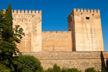 Wall Mural - Alhambra de Granada. Alcazaba. Broken and Homage Towers