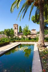 Wall Mural - Alhambra de Granada. Convento de S. Francisco behind a pond