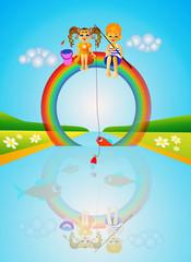 Spoed Foto op Canvas Regenboog Children on rainbow.