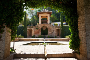 Wall Mural - Alhambra de Granada. Pavilion in the gardens of El Partal Palace