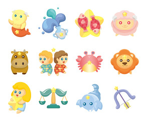 Set of isolated cute zodiac symbols