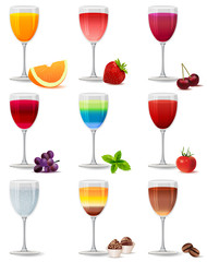 Different cocktails and juices on white